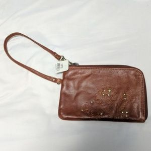 Fossil | NWT Leather Floral Embossed Wristlet